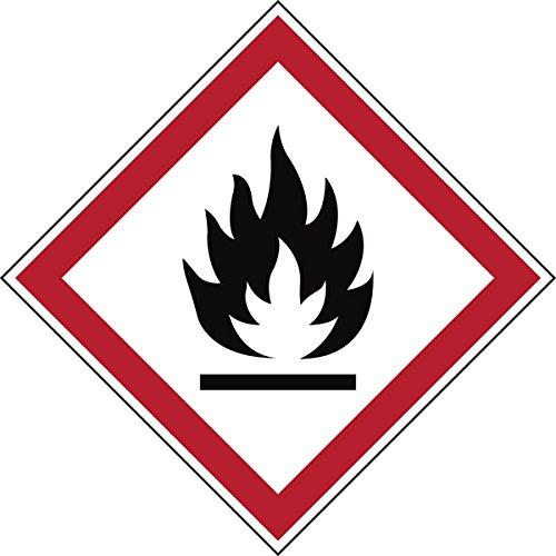Brady 811687 di sostanze pericolose, GHS Cartello in poliestere laminato, infiammabile, 70 mm x 70 mm, in cartoncino, 6 pezzi, colore: rosso/bianco su nero