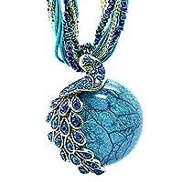 Women's Vintage Bohemian Style Phoenix Peacock Crystal Diamond Opal Pendant Necklace (Blue)