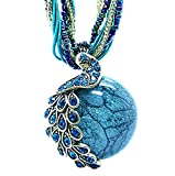 Women's Vintage Bohemian Style Phoenix Peacock Crystal Diamond Opal Pendant Necklace