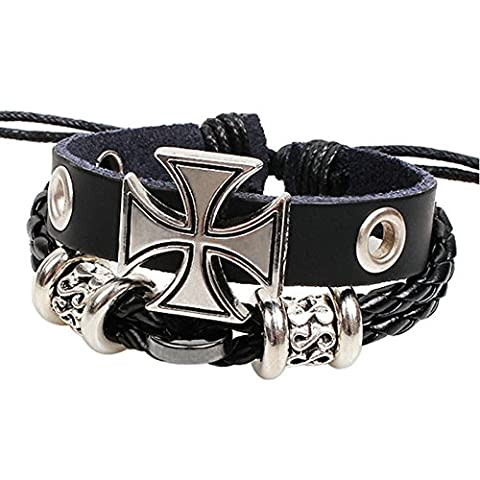 Punk Bracelet Noir avec alliage Croix Croix Punk Bracelet en