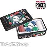 TrAdE shop Traesio SET POKER CHIPS PROFESSIOALE 100 FISHES FICHES DAKOTA TEXAS HOLDEM 100 CHIPS