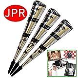 3x JPR Golecha Originale Natürliche Kegel Cones für Temporäre Mehndi Tattoos (Schwarz) + SRK Postkarte