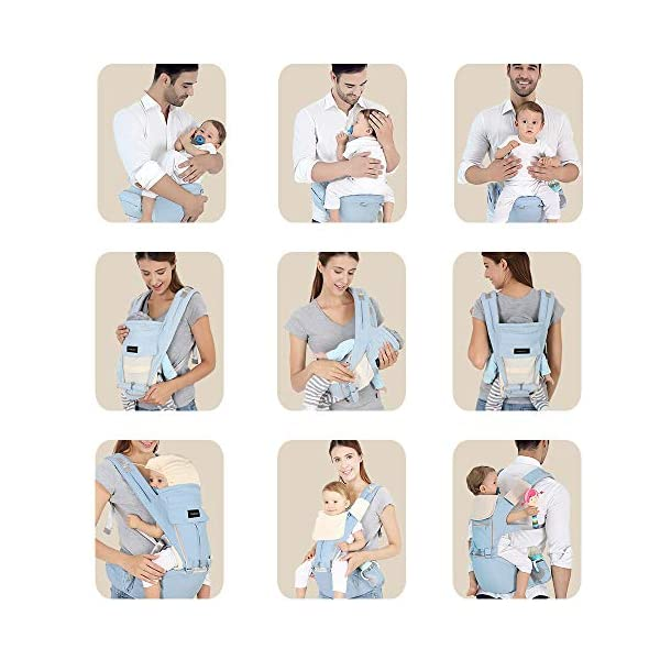 Azeekoom Baby Carrier, Ergonomic Hip Seat, Baby Carrier Sling with Fixing Strap, Bibs, Shoulder Strap, Head Hood for Newborn to Toddler from 0-36 Month (Light Blue)  【More Ergonomic】 - Baby carrier for newborn has an enlarged arc stool to better support the baby's thighs, the M design that allows the knees to be higher than the buttocks when your baby sits, is more ergonomic.The silicone granules on the stool provide a high-quality anti-slip effect that prevents the baby from slipping off the stool. 【Various Methods of Carrying】- There are 5 combinations of ergonomic baby carrier and a variety of ways to wear them.Hip Seat/Fixing Strap + Hip Seat/Shoulder Strap + Hip Seat/Strap + Hip Seat/Strap, 5 combinations to meet your needs.Fixing Strap frees your hands and prevent your baby from falling over the stool.The shoulder straps reduce the burden on your waist and make you more comfortable. 【More Comfortable】 - The baby carrier is made of high quality cotton fabric with 3D breathable mesh for comfort and coolness. The detachable sunshade provides warmth in winter and fresh in summer. The detachable cotton slobber allows you to Easy to change. At the same time, the zip closure is designed for easy removal and cleaning. 7