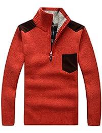 bb9f18c843e7 GWELL Herren Pullover mit Fleece Jacquard Verdickte Sweater Cardigan  Strickpullover mit Stehkragen