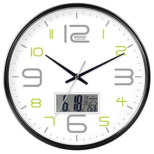 DIDADI Wall Clock Schautafel Schlafzimmer Wohnzimmer Hörraum Wanduhr Herr Ding hinter dem Kalender Uhr - Ching-stein Batterie Uhren runden-Jong-Mann, 12 LCD, Version 543 Schwarz