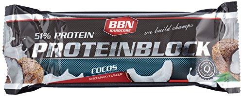 BBN Hardcore Protein Block Riegel, Kokos, 15 Stück -