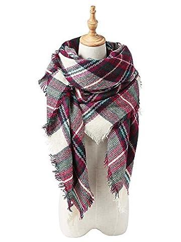 Zando Soft Warm Tartan Plaid Scarf Shawl Cape Blanket Scarves Fashion Wrap Green Rose