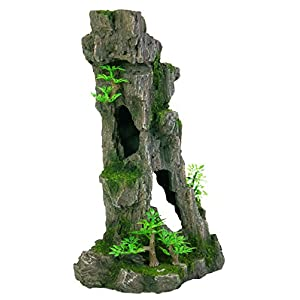Trixie 8857 Aquarium Decoration Rock Formation with Caves / Plants Upright 28 cm