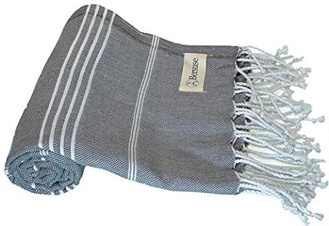 Bersuse 100% Baumwolle - Anatolia Türkisches Handtuch - Badestrand Fouta Peshtemal - Klassisches gestreiftes Pestemal - 95 X 175 cm, Anthrazit