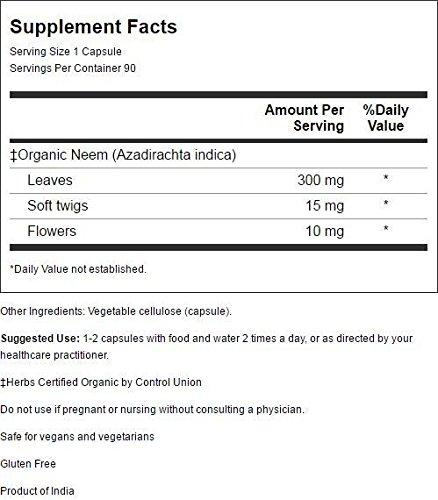 Organic Neem Capsules Vegetarian 60