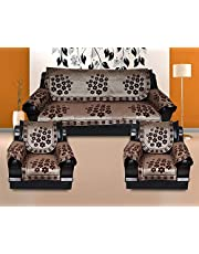 KINGLY Cotton 12 Pcs Rangoli Design Sofa Covers Set of 5 Seater (3+1+1) – Brown,Gold