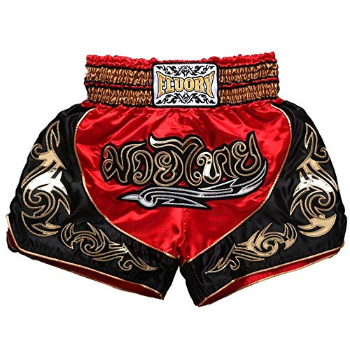 FLUORY Thai Boxing Shorts, Muay Thai Fight MMA Shorts Clothing Training Cage Fighting Grappling Martial Arts Kickboxing Shorts