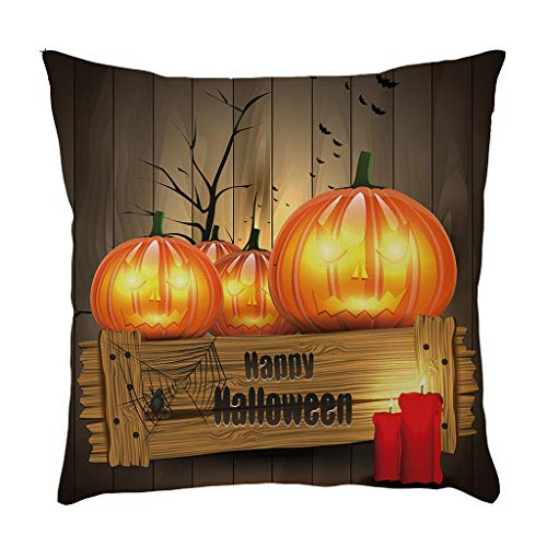 Clipart Kostüm Party Kinder - Laile Halloween Kissenbezug Happy Festival Party Dekoration Kissenbezüge Leinen Sofa Kissenbezug Wohnkultur 45cm x 45cm Sofa Kissenbezüge für Kinder Niedlicher House Decor Kürbis