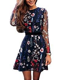 Boutiquefeel Damen Blumen Embroidery Casual Mesh Kleid