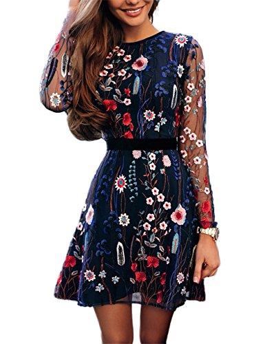 Boutiquefeel Damen Blumen Embroidery Casual Mesh Kleid Mehrfarbig L