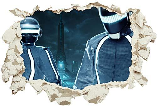 Unified Distribution Daft Punk Tron City - Wandtattoo mit 3D Effekt, Aufkleber für Wände und Türen Größe: 92x61 cm, Stil: Durchbruch (Daft Punk-aufkleber)