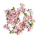 Weimi Künstliche Kirschblüte Hängende Reben Garland Gefälschte Kranz Home Party Garten Zaun Weihnachten Hochzeit Decor (2 stücke Rosa)