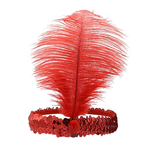 Yiwa Frauen Strauß Feder Haar Band Elastisch Fascinator Pailletten Chic Cosplay Indian Chief Haar Schleife Haarband Ornament Rot