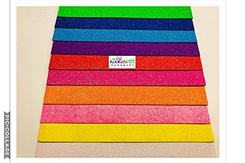 Hojas de goma EVA con purpurina, colores pastel, paquete de 10colores