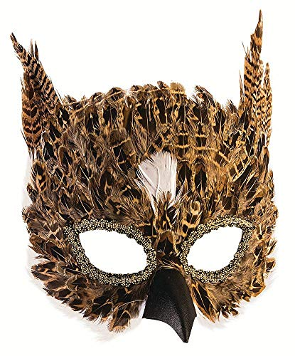 Eule Kostüm Federn - shoperama Maske Eule mit Federn Braun Eulenmaske Tiermaske Halbmaske Karneval Verkleidung