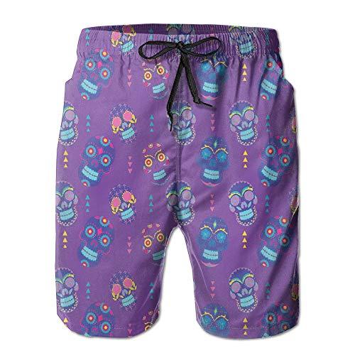 Mens Purple Cartoon Skull Pattern Fashion Surf Board Beach Home Shorts Swim-Trunks Quick Dry with Pocket (M)