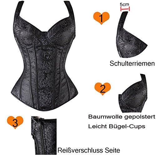 U-Pretty Frauen Gothic Jacquard-Schultergurte Behälter Overbust Korsett Bustiers 802 Schwarz
