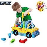 Baby Spielzeug multifunktionale Konstruktion auseinander nehmen Spielzeug-Spielzeug Werkzeug Lastwagen für Kinder Spielzeug 3+mit Bohrmaschine und Elektrowerkzeuge für Montage,Musik und Beleuchtung,Beule und los!