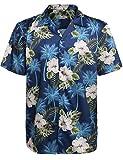 HOTOUCH Herren Hawaiihemd Urlaub Hemd Strandhemd Freizeithemd Hawaii-Print Mit Kurzarm Navy Blau XXL