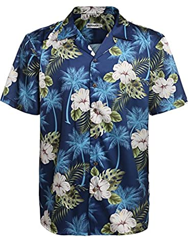 HOTOUCH Mens Hibiscus Shirt Aloha Hawaiian Shirt Navy Blue