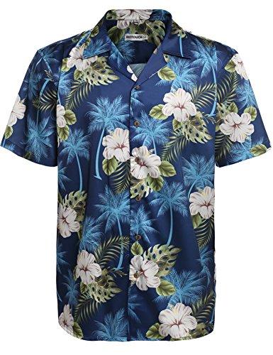 HOTOUCH Herren Hawaiihemd Urlaub Hemd Strandhemd Freizeithemd Hawaii-Print Mit Kurzarm, Typ1-navy Blau, XL
