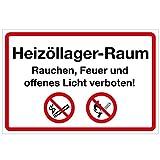 Wandkings Hinweisschild - Heizöllager-Raum Rauchen, Feuer und offenes Licht verboten! - stabile Aluminium Verbundplatte - Wähle eine Größe - 30x20 cm