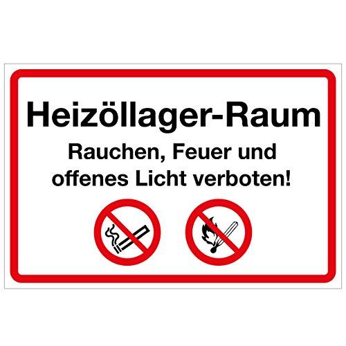 Wandkings Hinweisaufkleber für den Innen- und Außenbereich - Heizöllager-Raum Rauchen, Feuer und offenes Licht verboten! - 20x15 cm - Aufkleber ohne Schild