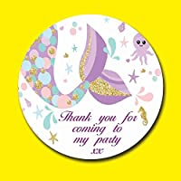 MERMAID THEME BIRTHDAY PARTY STICKERS SWEET CONE SEALS X 35 MATT