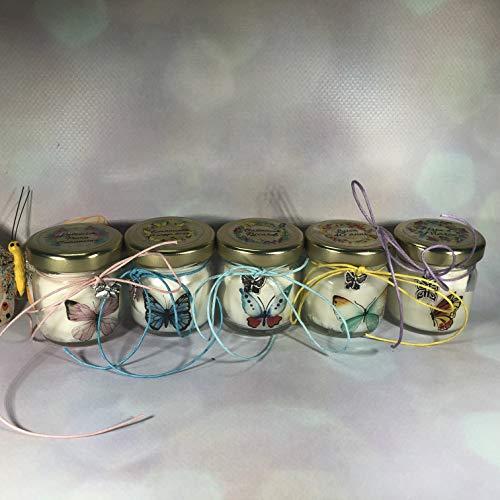 5 mini candele profumi misti segnaposto farfalle in vasetto con tappo personalizzato matrimoni comunioni battesimi compleanni anniversari nozze oro argento country shabby chic ricordo per gli ospiti