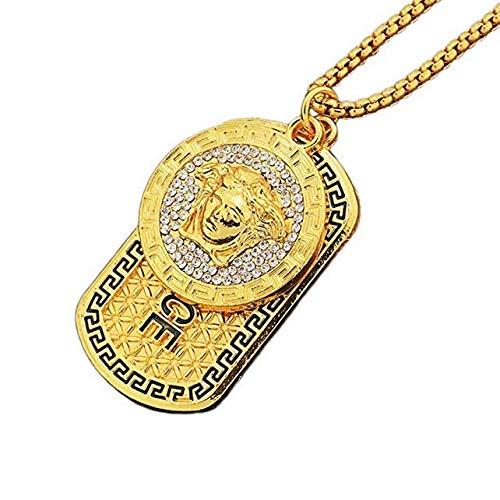 ORKST Medusa Anhänger 18K Gold Legierung Halskette Männer und Frauen Schmuck Zubehör Kettenlänge 75cm Geschenkbox