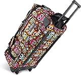normani Leichte XXL Reisetasche Rollenreisetasche Trolley Sporttasche mit Rollen Farbe Retro Owl / 100 Liter