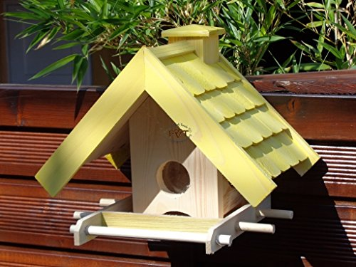 Vogelfutterhaus,BEL-X-VOWA3-gelb002 Großes Vogelhäuschen + 5 SITZSTANGEN, KOMPLETT mit Futtersilo + SICHTGLAS für Vorrat PREMIUM Vogelhaus - ideal zur WANDBESTIGUNG - vogelhäuschen, Futterhäuschen WETTERFEST, QUALITÄTS-SCHREINERARBEIT-aus 100% Vollholz, Holz Futterhaus für Vögel, MIT FUTTERSCHACHT Futtervorrat, Vogelfutter-Station Farbe gelb kräftig sonnengelb goldgelb, MIT TIEFEM WETTERSCHUTZ-DACH für trockenes Futter