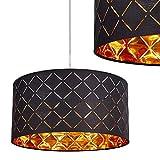 Hängeleuchte Meldal aus Stoff in Schwarz und Gold – exotische Deckenlampe mit rundem Lampenschirm – Zimmerlampe für Esszimmer – Wohnzimmer – Schlafzimmer – E27-Fassung - LED geeignet