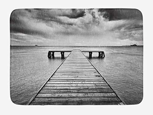 Black and White Bath Mat, Old Wooden Pier on The Sea Dramatic Sky Heavy Clouds Rainy Weather, Plush Bathroom Decor Mat with Non Slip Backing, 23.6 W X 15.7 L Inches, Black and White