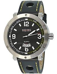 Nautec No Limit Herren-Armbanduhr XL Shamal Analog Quarz Leder SM QZ3/LTSTBK-YL
