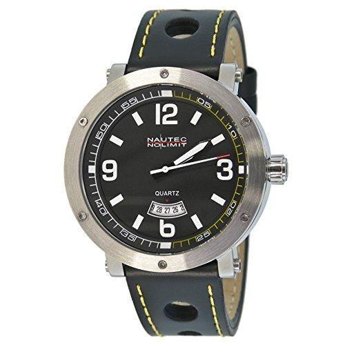 No limit Nautec Herren-reloj analógico de cuarzo Shamal piel SM QZ3/LTSTBK-YL