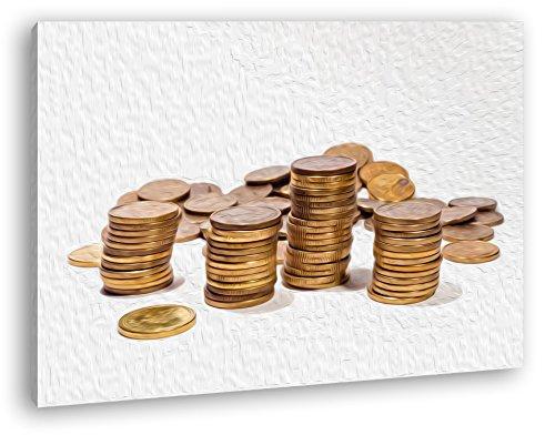 Stapel Münzgeld Effekt: Zeichnung Format: 100x70 als Leinwand, Motiv fertig gerahmt auf Echtholzrahmen, Hochwertiger Digitaldruck mit Rahmen, Kein Poster oder Plakat (Dollar Radiergummi)