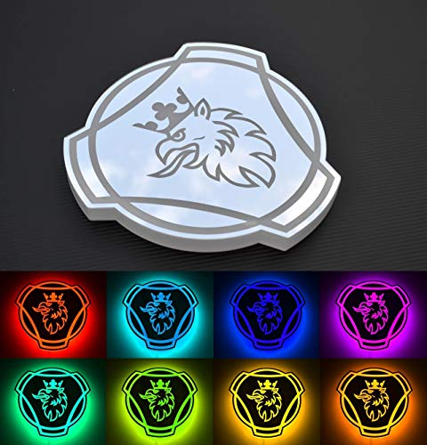 Preisvergleich Produktbild 24V RGB LED Teller Silber Spiegel Schild 300mm Griffin für Scania LKW Laser Gravur