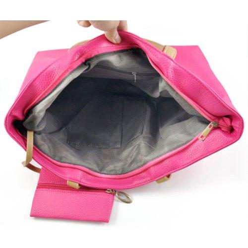 SODIAL(R) , Damen Tote-Tasche Schwarz schwarz rose