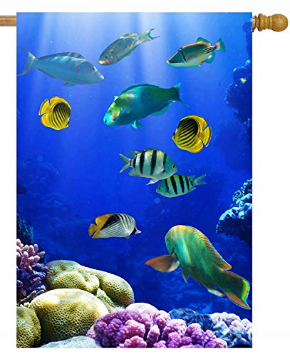 Cal Coral (Exotic Tropical Summer Ocean Sea Underwater Life Coral Reef Fish House Flag Double Sided Polyester Welcome Yard Garden Flag Banners for Patio Lawn Home Outdoor Decor(Size: 12.5inch W X 18 inch H))
