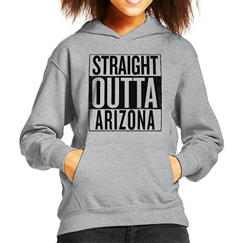 Coto7 Black Text Straight Outta Arizona US States Kid's Hooded Sweatshirt