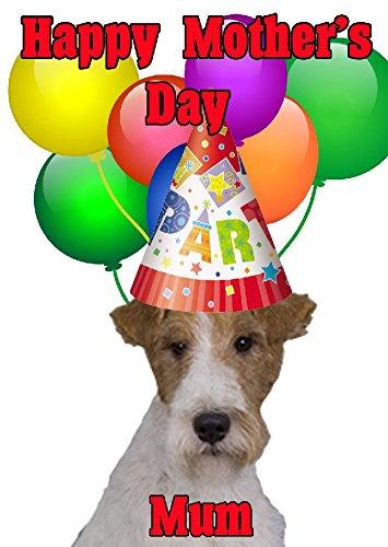 Fox Terrier Hund Happy Mother 's Day Party Hat Karte chmd164personalisierbar Grüße (Fox Hat Terrier)