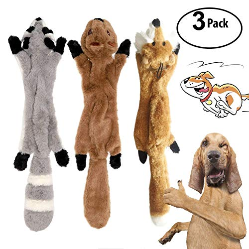 YAMI 3 Pack Hund Quietschende Kauen Spielzeug Keine Füllung Hund Spielzeug Plüsch Tier Hundespielzeug für Kleine Medium Hund - Füllung-plüsch Spielzeug Hund Keine