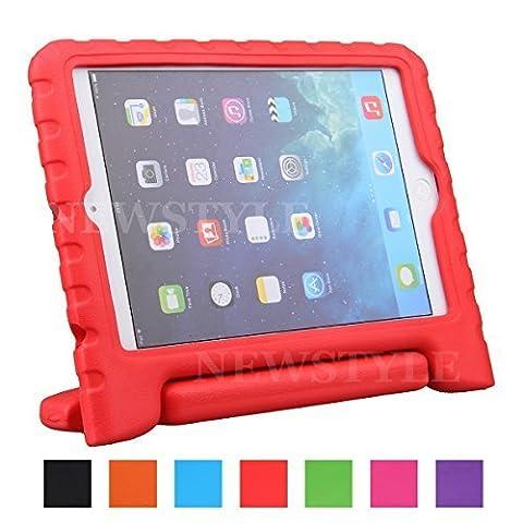 iPad Mini 1/2/3 Coque,BELLESTYLE Etui Housse EVA Enfants Antichoc Protecteur Support Convertible avec Poignée de transport pour Mini3,Mini2 et Mini (2014 1ère génération), Rouge