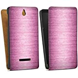 Sony Xperia E Tasche Hülle Flip Case Metal Look - Pink Metall Rosa Pink